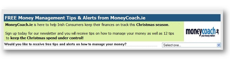 Moneycoach Email lead generation example