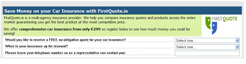 FirstQuote.ie Email lead generation example