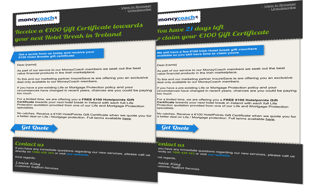 Moneycoach Email Creative Examples
